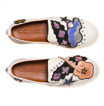 Coach Women's Slip On Embroidered Skate Shoes Sneakers C115 Sequin Star Chalk image 3