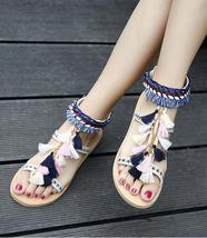 Women Chili Mango Sandals,Tie Up Gladiator Sandals,Boho sandals,Pom Pom sandals - $39.99
