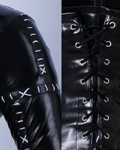 Women's Full Body Black Patch Leather Catsuit Deluxe Corset Costume +Whip Gloves image 5