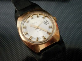 Vintage  men's wristwatch Slava watch 21 jewels AU Gold plated mechanica... - $44.90