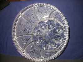 "Indiana Glass Pebble Leaf Clear Round Deviled Egg Relish Tray Plate 12 7/8"" - $15.83"