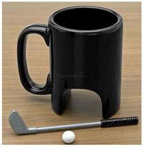 The Black Ceramic Golf Mugs Ceramic Coffee Milk Tea Cup Drinkware + Spoo... - $34.95