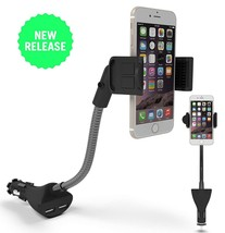 3-In-1 Cigarette Lighter Car Mount Charger Phone Holder with Dual USB - £8.89 GBP