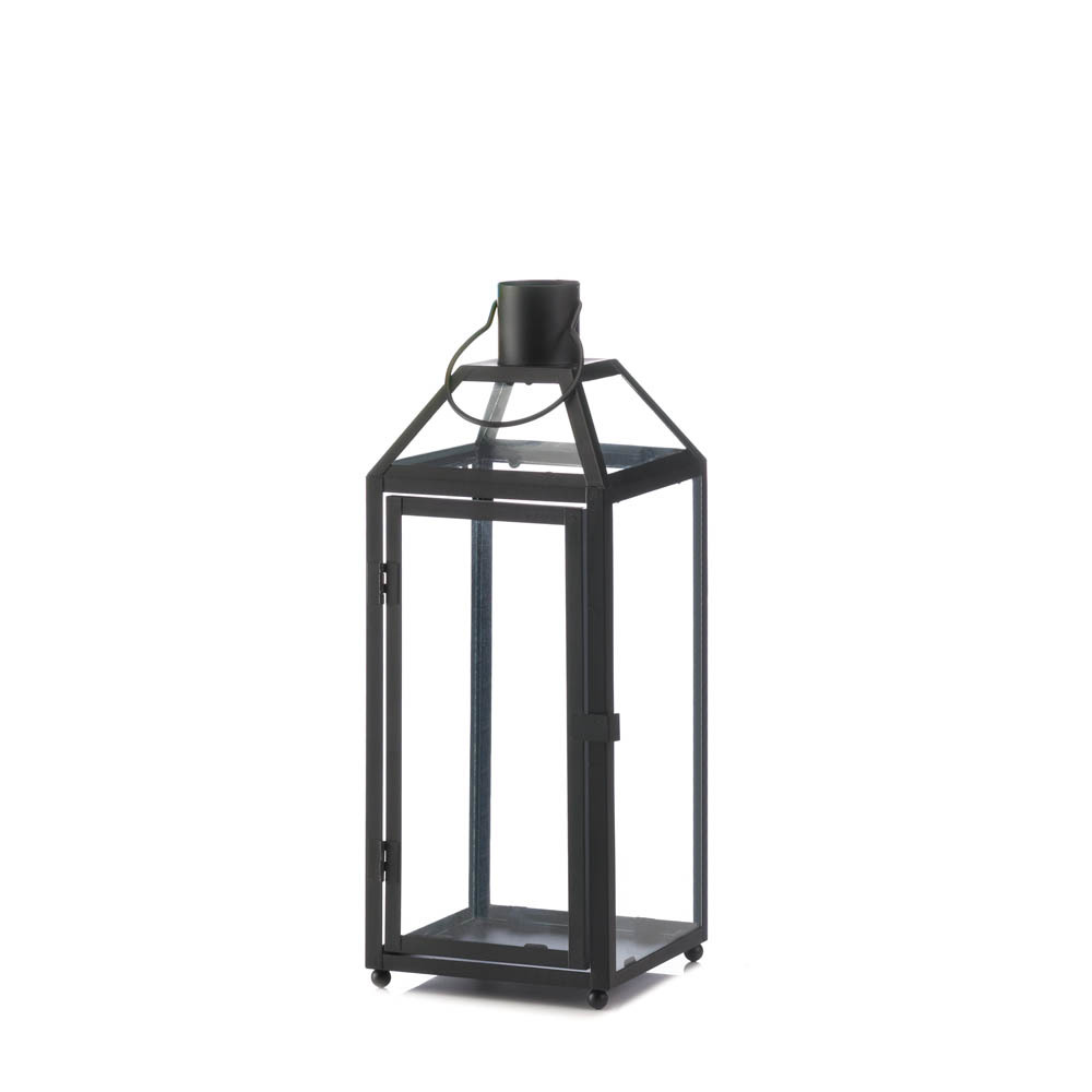 Medium Chic Midtown Black Candle Lantern Clear Glass Panels Slanted Glass Roof