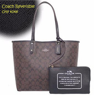 Coach Reversible City In Signature F 36658 Nwt brown black - $129.00