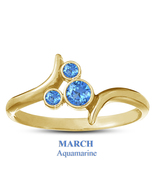March Aquamarine Birthstone Mickey Mouse Ring 14k Yellow Gold Plated 925... - $25.99