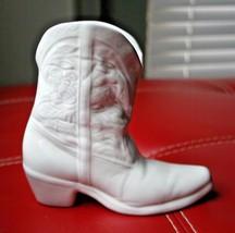 "Frankoma Cowboy Boot Wall Pocket Planter Clay Pottery 133 Sand White 6-1/2"" - $15.00"