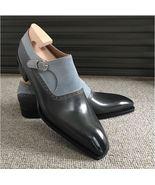 Handmade men's Gray Black Leather Shoes, Men's Double Monk Dress Suede N... - $159.97+