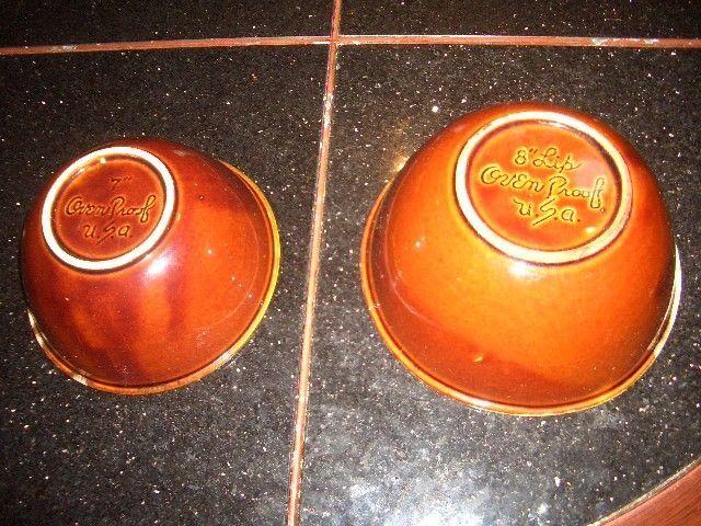 "Vintage Hull Pottery Brown Drip Glaze 7"" + 8"" nesting bowls"