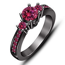 14k Black Gold Finish 925 Sterling Silver Pink Sapphire Womens Engagemen... - £62.93 GBP