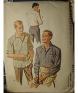 "Vintage Men's Sewing Pattern Shirts 14-14.5"" neck 4416 (1957) cut - $6.99"