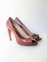 Leather Pumps HeelsPrada Peep Toe Curved Heel Patent Leather Shoe 39.5 9... - $65.96