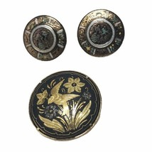 Damascene Brooch and Clip On Earrings Spain Dancers Bird Flamingo Dancers  - $33.66