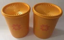 Vintage Tupperware 2 Canisters #809-6 with Servalier Lids Goldenrod/Orange  - $16.43
