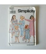 Simplicity 8093 Sewing Pattern Childrens Girls 3-6 Pajamas Nightgown Ro... - $8.90