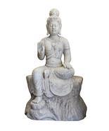 Chinese White Marble Stone Sitting Kwan Yin Tara Bodhisattva Statue cs3883 - $1,680.00