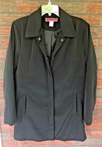 Black Rain Jacket Size Large Raincoat Snaps Pockets Shoulder Pads Vintag... - $19.60
