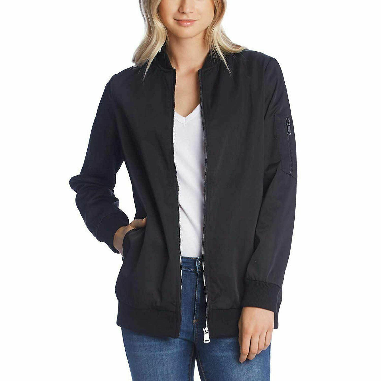 Bernardo Ladies' Black Satin Bomber Boyfriend Zip Up Jacket Coat Medium NEW