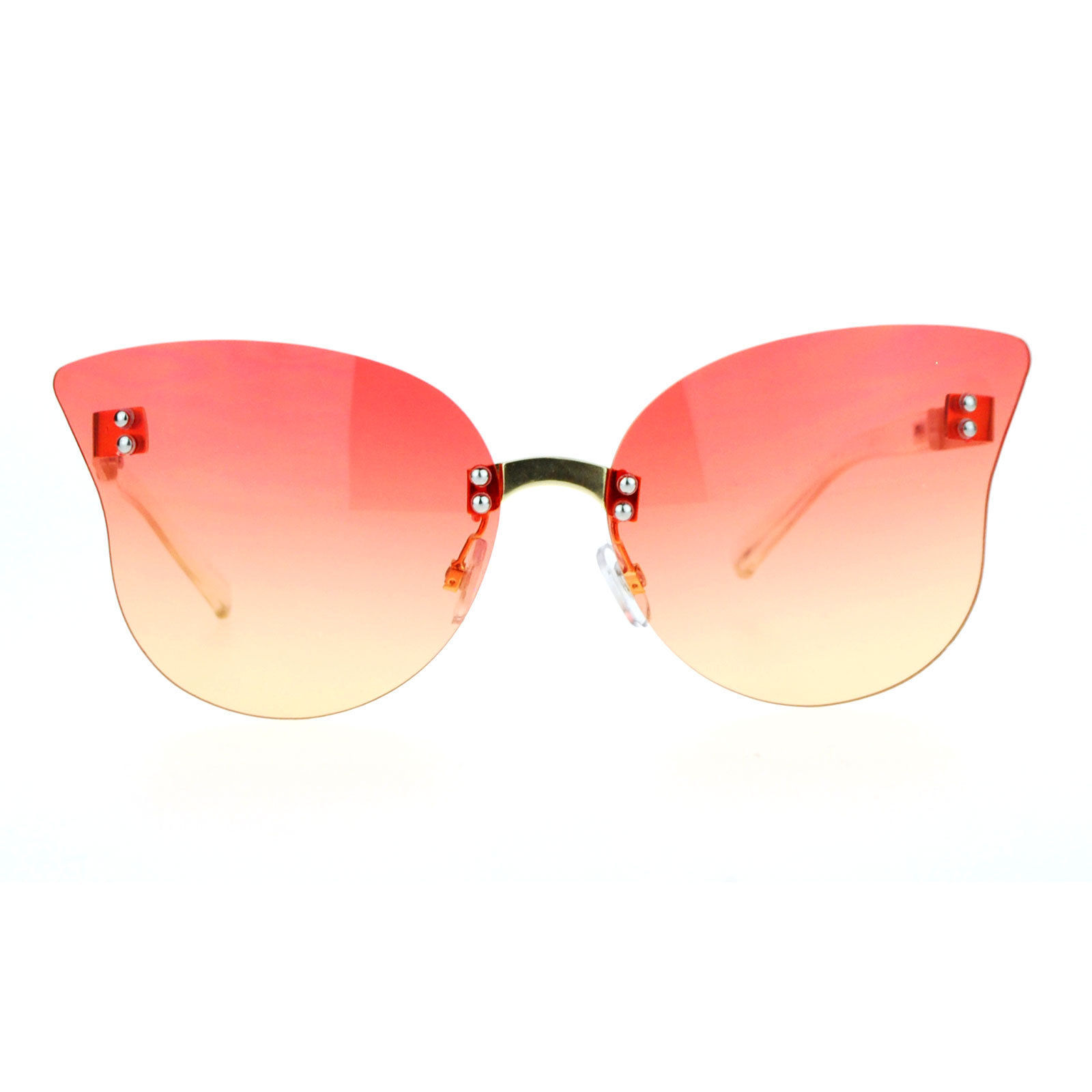 Womens Rimless Butterfly Sunglasses Beautiful Ombre Gradient Lens UV 400