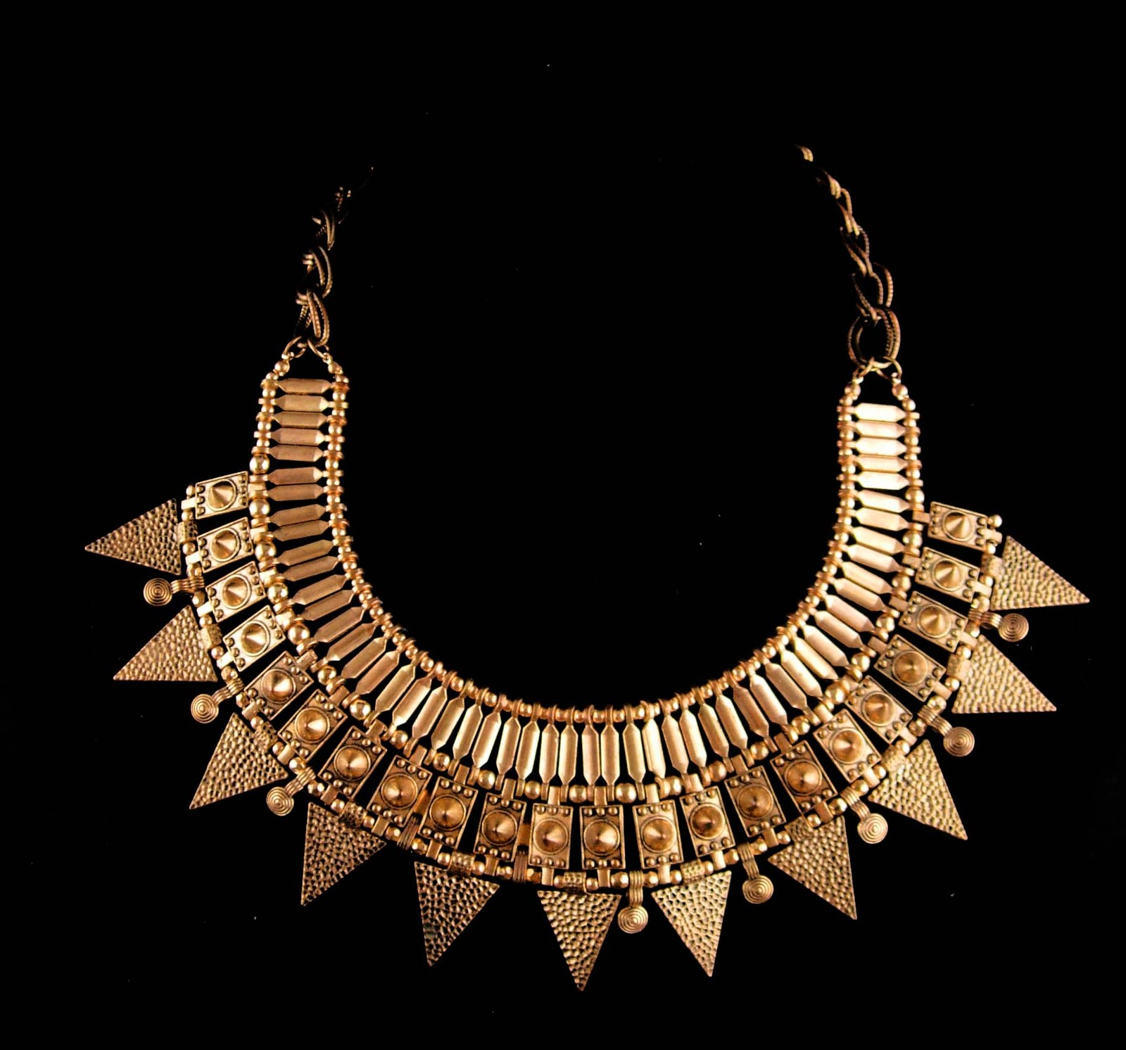 Primary image for Cleopatra signed Necklace - large heavy Hippie style - big etruscan choker -  in