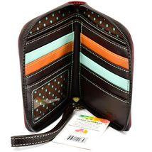 Chala Handbags Faux Leather Maroon Burgundy Raccoon Zip Around Wristlet Wallet image 3