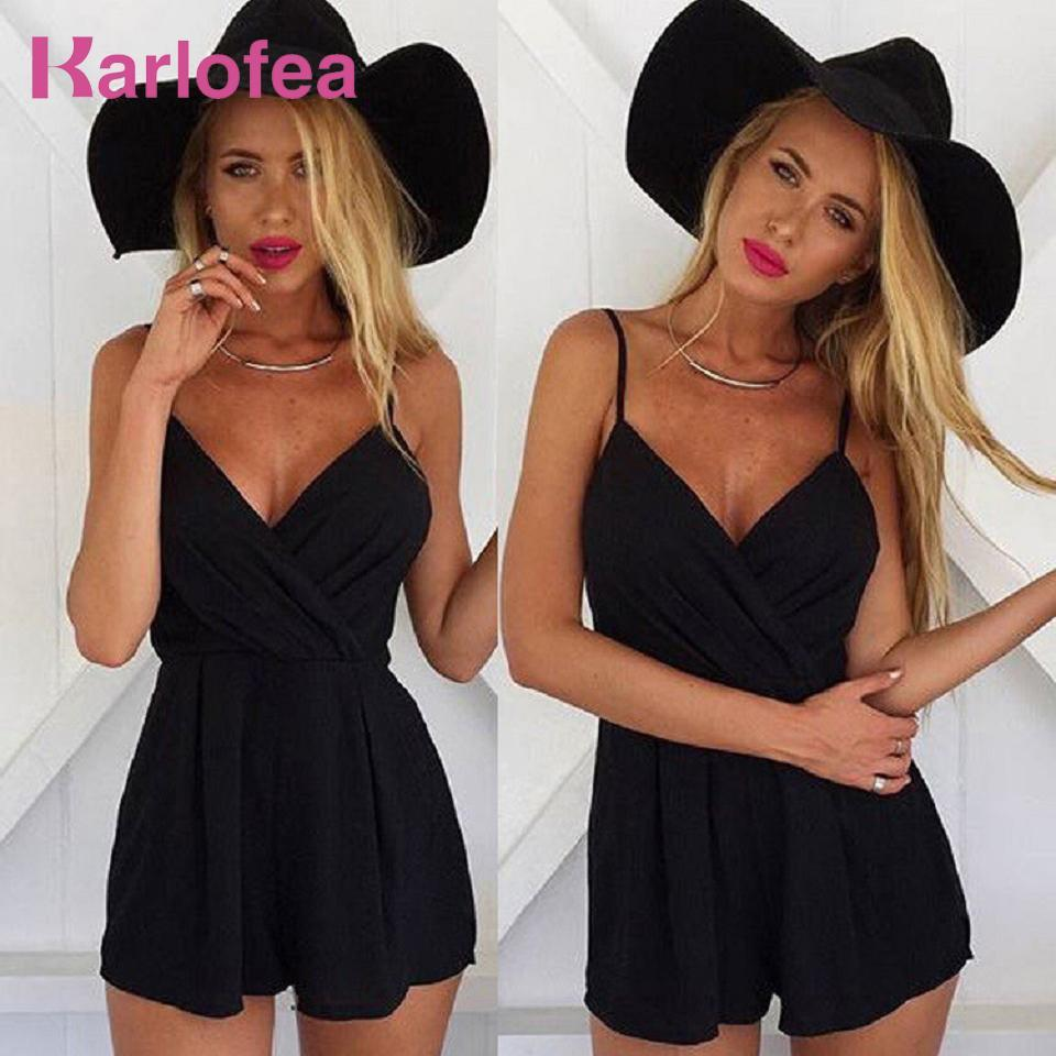 Karlofea Women's Fashion Rompers Sleeveless Strap V Neck Solid Outfits High Qual - $37.23