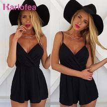 Karlofea Women's Fashion Rompers Sleeveless Strap V Neck Solid Outfits H... - $37.23