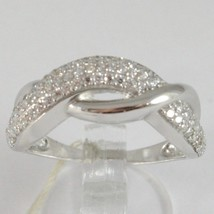 White Gold Ring 750 18k, Veretta with Zircon Cubic, Braided, Wavy image 1