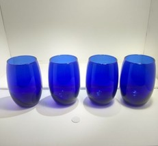 **Beautiful** 11.5 oz. Cobalt blue stemless wine glasses-Set of 4 - $16.30