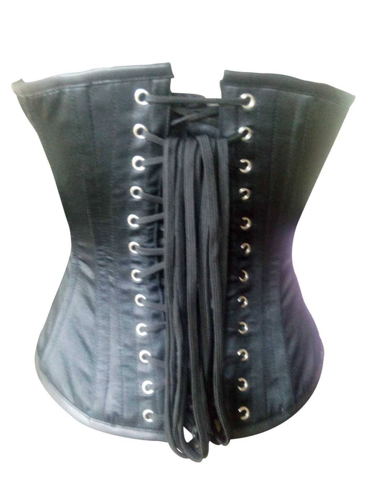 Black Leather Belts Zip Gothic Steampunk Bustier Waist Training Overbust Corset image 2