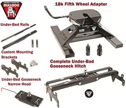 BULLDOG UNDRBED GOOSENECK TRAILER HITCH + 18K 5TH WHEEL ADAPTER SIERRA S... - $890.99