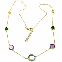 18K YELLOW GOLD NECKLACE, CABOCHON BLUE TOPAZ, AMETHYST, CITRINE, GREEN AGATE image 1