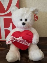 TY Classic Valentines Day White Plush Bear Romantic  Red Heart Love XOXO... - $24.99
