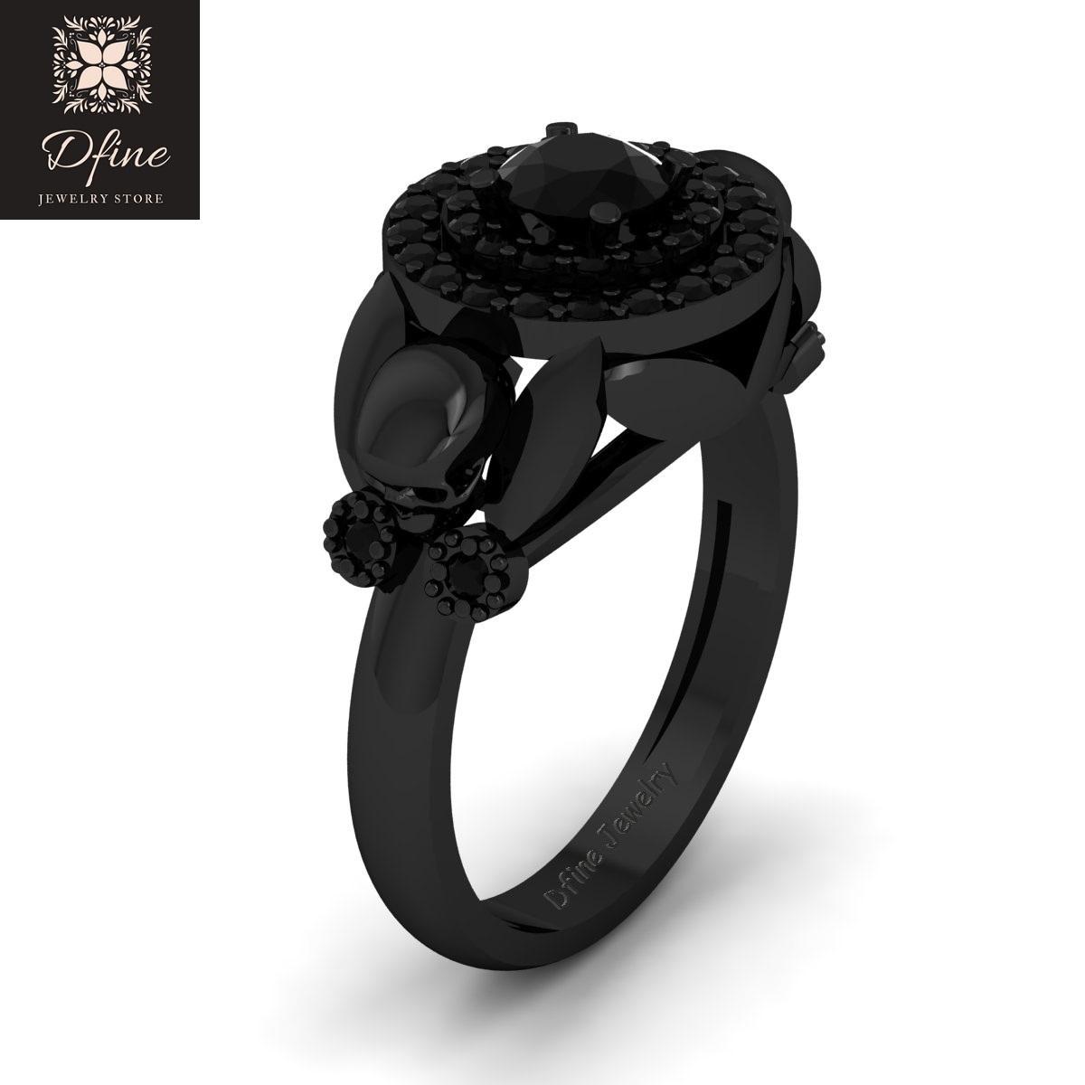 Classic Onyx Black Flower Art Nouveau Witchy Vapor Gothic