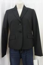 Anne Klein Platinum Blazer Sz 10 Black Wool Faux Pocket Career Suit Jacket  - $49.44