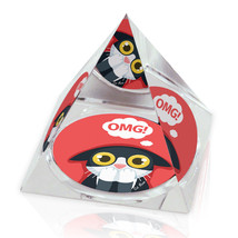 "OMG Cat Funny Cartoon Animal Art 2"" Crystal Pyramid Paperweight - $15.99"