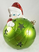 Christmas Kitty Cat on Green Ornament 2 Mode Light Flickering & Color Ch... - $19.99