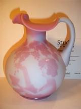 """Fenton Glass Kelsey Sand Carved Cameo Blue Burmese """"Vintner"""" Pitcher Ltd Ed - $431.65"""