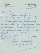 Harry Johnston, Blackpool and England Soccer player. Hand written letter - $20.00