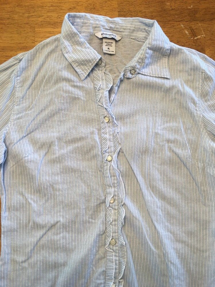 Abercrombie Girl's Blue & White Striped Long Sleeve Dress Shirt - Size XL image 3