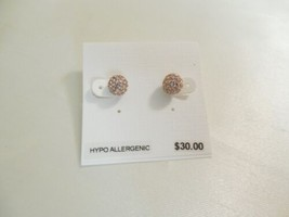 Charter Club Gold Tone Crystal Pave Ball Stud Earrings J630 - $13.43