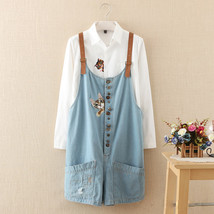 autumn winter new funny female  cats embroidery pattern denim jeans over... - $51.40