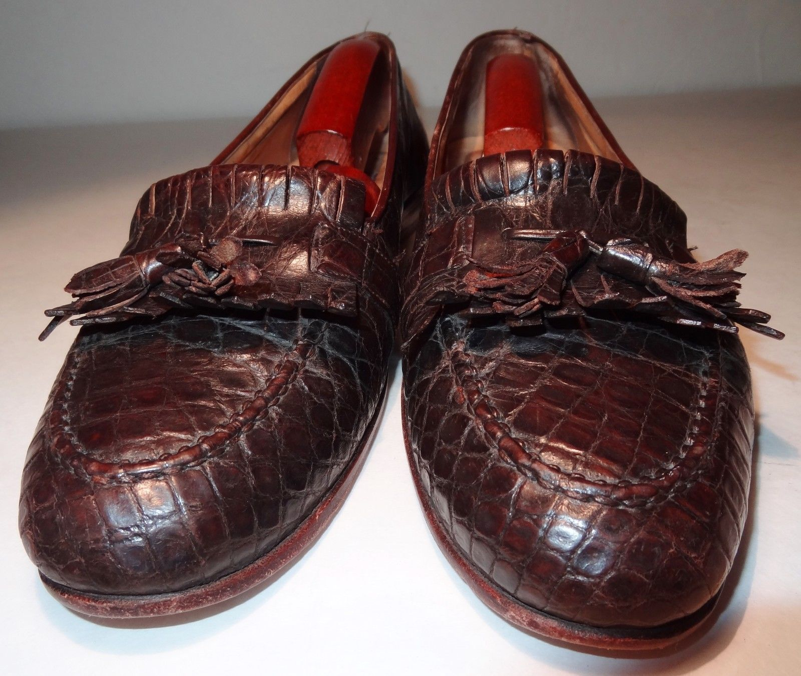 cd69b53d05 $1200 BRAGANO by COLE HAAN Brown MENS GENUINE CROCODILE TASSEL LOAFERS SIZE  9 D