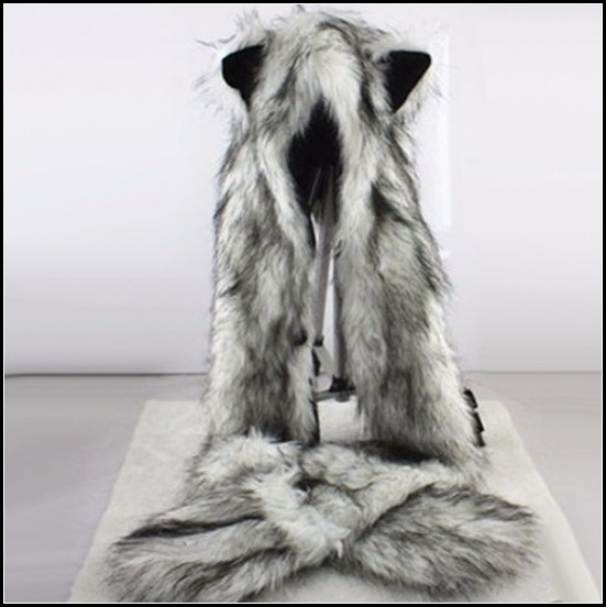 Warm Winter Faux Fur Gray Snow Wolf Earred Cap Three in One Hat Scarf Mittens