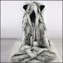 Warm Winter Faux Fur Gray Snow Wolf Earred Cap Three in One Hat Scarf Mittens image 2