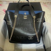 CHANEL Eyelet Tweed Shopping Bag Hand Chain Shoulder Calfskin Black AS04... - $5,697.75
