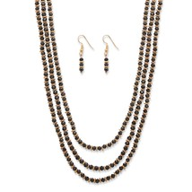 "2-Piece Black Beaded Gold Tone 3-Strand Necklace and Drop Earrings Set 30""-33"" - $23.19"