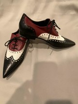 Gucci Brogue Point Toe Gia Shoes Lace Up Flats Black White Burgundy 35.5 - $186.15