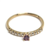18K ROSE GOLD RING, SOLITAIRE WITH CENTRAL AND ROW PURPLE & WHITE CUBIC ZIRCONIA image 2