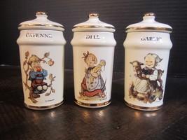 "MJ Hummel Danbury Mint Gold Trim Cayenne Dill Garlic  Spice Jar 4"" set ... - $14.80"